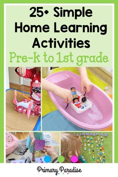 Keeping kids busy at home can be challenging, especially if you want to ensure that they're continuing to learn as well. Here are some simple activities that you can do at home with your little ones. Measurement Activities, First Grade Activities, First Grade Math, Classroom Activities, Learning Activities, Teaching Ideas, Teacher Organization, Teacher Hacks, Home Learning