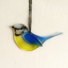 Bird Fused Glass Art Home Decor Copper/ Metal Sculpture Ornament Free Standing Kilnformed Fused Glass Art, Stained Glass, Home Decor Copper, Glass Fusion Ideas, Glass Fusing Projects, British Garden, Kiln Formed Glass, Blue Tit, Bird Ornaments