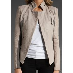 cut25 Washed Lamb Leather Jacket in Nickel ($491) via Polyvore