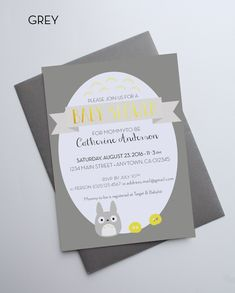 Totoro Baby Shower Invitation Dustbunnies gold foil - Custom cards with envelopes de la boutique MySweetPaperCard sur Etsy
