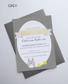 Totoro Baby Shower Invitation Dustbunnies gold foil - Custom cards with envelopes de la boutique MySweetPaperCard sur Etsy