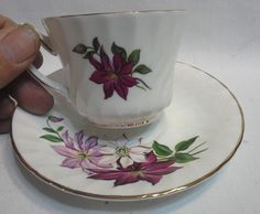 White w Purple Flowers Royal Kendall England China Matching Cup and Saucer #RoyalKendall