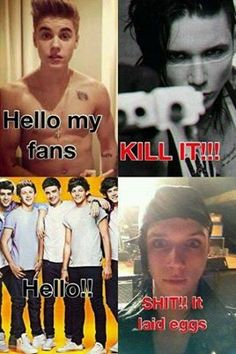 Andy Biersack. I had to pin it cuz its so funny i love One Direction forever but i couldnt help but laugh lol