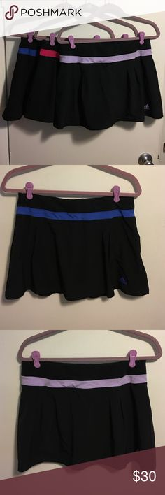 """Set of 3 Workout Skirts/Skorts 3 Adidas Climalite workout skirts or skorts. Size medium. Elastic waist measures 15"""" across the front unstretched. Barely worn condition. No signs of wear. All have attached shorts underneath in the color of the waist band. Adidas Skirts"""
