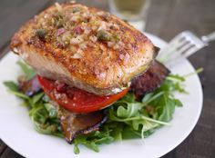Barbells and Bellinis: Salmon BLT Stacks with Lemon Caper Vinaigrette