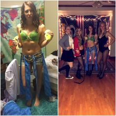"Britney Spears Halloween costume!! As many of my friends know, I love Britney Spears. So, they loved me enough to be her with me for Halloween. My costume was from her VMA performance ""I'm a slave for you"". I bought a bra from Goodwill and sewed a couple layers of green fabric over the top of it. Then for my bottoms I tied some blue strips of fabric around my shorts along with a gold chain. Put a snake and some sparkles on and you're good to go (even if you don't have blonde hair)."