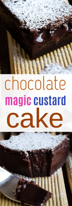 chocolate magic custard cake Thematic cakes fro different occassions: baby showers, birthdays, and s Magic Chocolate Cake, Ultimate Chocolate Cake, Chocolate Custard, Chocolate Pies, Chocolate Recipes, Chocolate Lovers, Pie Dessert, Dessert Recipes, Yummy Recipes