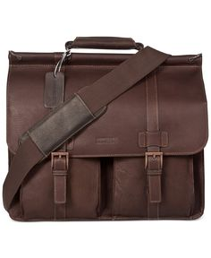 Kenneth Cole Reaction Colombian Leather Dowel Rod Double Gusset Laptop Brief