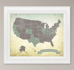 Outlined States US Map art print - mark all the places we've lived using colored pushpins and string