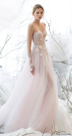 "Mira Zwillinger 2017 Wedding Dresses — ""Whisper Of Blossom"" Bridal Collection Beautiful strapless light pink wedding dress. Light Pink Wedding Dress, Colored Wedding Dresses, Dream Wedding Dresses, Bridal Dresses, Wedding Gowns, 2017 Wedding, 2017 Bridal, Wedding Ceremony, Wedding Dress Colors"