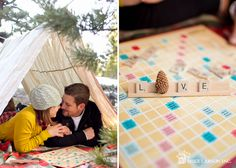 cuddled up on a festive blanket playing board games! <3