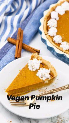 Best Pumpkin Pie, Vegan Pumpkin Pie, Pumpkin Spice, Vegan Sweets, Vegan Desserts, Vegan Appetizers, Tarte Vegan, Vegan Pie Crust, Pumpkin Pie Cheesecake