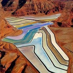 Wanderlust - Mesmerizing fields of Potash Evaporation Ponds, Moab, Utah. Places To Travel, Places To See, Travel Destinations, Moab Utah, Utah Usa, Sierra Nevada, Wyoming, Travel Usa, Travel Tips