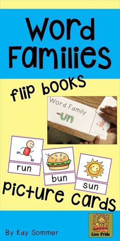 Learn about word families with these picture cards and easy to assemble word family flip books! Flip Books, Phonological Awareness, Create Words, Picture Cards, Word Families, Literacy, Language Arts, Teaching, Writing