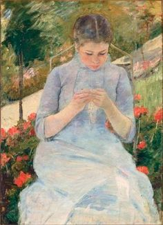 """""""Young Woman Sewing in a Garden by Mary Cassatt"""""""