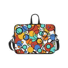 """Pop Art Dot Colorful Art Print Laptop Briefcase by Juleez Laptop Handbags 17"""".Pop Art Dot Colorful Art Print Laptop Briefcase by Juleez"""