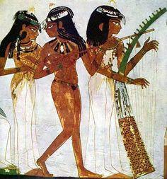 Музыканты на сцене пира. Роспись гробницы Рехмира. Новое царство