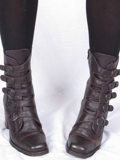 Euro Club vintage boots multi side buckle stacked heel zip up ankle brown leather sz womens 7 B