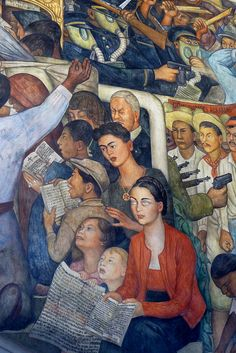 Diego Rivera mural in the National Palace, Mexico City  		Diego Rivera mural in the Palacio Nacional in the main square of Mexico City.  This mural depicts a kind of marxist utopia in the early 20th century and here includes Riveras wife Frida Kahlo.