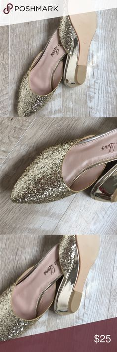 ✨Glitter Glam Mules✨ Champagne  gold mules NWIB available in 6 & 6.5  * these run a half size smaller than labeled. I've marked boxes to to indicate.  * boutique brand/ NOT JOIE/ GET THE LOOK Joie Shoes Mules & Clogs