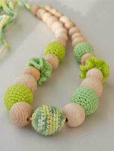 Teething necklace. Interesting idea. Maybe for when little C is in the Ergo?