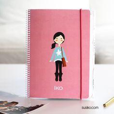 cuadernos personalizados, elige tipo de pelo, color de ojos, ropa...