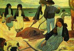Paul Gauguin - Ramasseuses de varech (II), The Kelp Gatherers (II), 1889. Oil on canvas, 87 x 123,1cm. Museum Folkwang, Essen, Germany