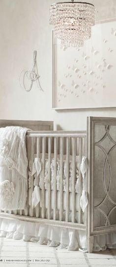 {fond of colors. textured blankets for girl. gray/ white crib}