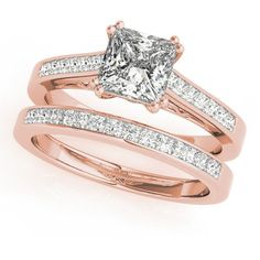 Allurez Double Prong Princess-Cut Diamond Bridal Set 14k Rose Gold... (82 295 ZAR) ❤ liked on Polyvore featuring jewelry, rings, 14k diamond ring, wedding rings, channel set diamond ring, princess cut diamond rings and diamond solitaire ring