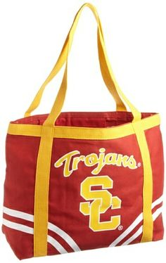 "NCAA University of Southern California Canvas Tailgate Tote by Pro-FAN-ity by Littlearth. $13.72. Large Interior Zipper Pocket. Features Over-Sized Team Logo. Officially Licensed. 14 oz Knit Cotton Canvas. Machine Washable. Littlearth's Officially Licensed Canvas Tailgate Tote is great at the beach, on day trips or a quick weekend bag! Measuring 15.5"" Length x 6"" Width x 13.5"" Height this large heavy tote is the perfect bag for your tailgating party. Made of 1..."