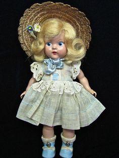 Rare Vintage Vogue Early Strung Ginny 1949 Judy Doll Painted Eye Original, Nice!