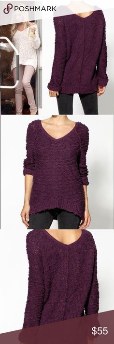 Free People Songbird Sweater *Plum* Beautiful and comfy, oversized plum Songbird v-neck boucle knit pullover sweater.  In excellent, gently used condition. Free People Sweaters V-Necks