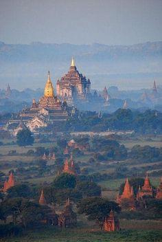 ミャンマー Bagan Temples in the morning mist, Myanmar. I am visiting this country in 3 weeks time, wonder if i can get to see sure a scenic place. Places Around The World, Travel Around The World, Around The Worlds, Places To Travel, Places To See, Travel Destinations, Bagan, Wonderful Places, Beautiful Places