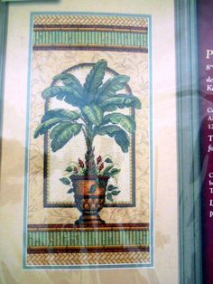 Palm Cross Stitch Kit Karen Avery Creative Accents 14 Aida Tree in Urn USA Made #Dimensions