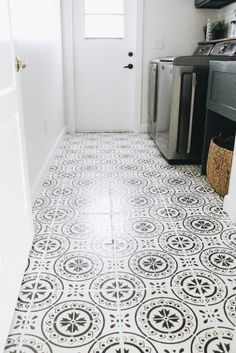 Home Laundry Room Update: Painted Stenciled Floors - Within the Grove Orchards in English Pleasure G Bathroom Stencil, Painting Bathroom Tiles, Painting Tile Floors, Tiled Floors, Stenciled Tile Floor, Laundry Room Tile, Floor Colors, Home Decor Store, Floor Design