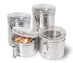 Flight Tracker 4pc Bread Bin Set Tea Coffee Sugar Jar Kitchen Stainless Steel Canisters New Good Companions For Children As Well As Adults Food & Kitchen Storage
