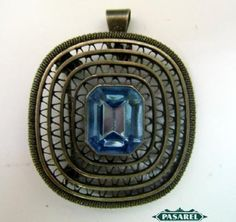 Pasarel - Bezalel Sterling Silver Filigree & Blue Topaz Brooch / Pendant, Jerusalem, Israel, 1950's. $95.00