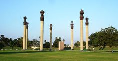 Seven pillars, each featuring a human value surrounds the site of the blast, at the Rajiv Gandhi Memorial in Sriperumbudur.