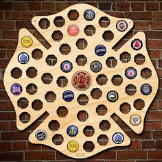 Firefighter Maltese Cross Engravable Beer Cap Map with Color Medallion - Fireman Decor, Man Cave, Home Bar, Gifts for Firefighters Christmas Firefighter Bar, Firefighter Boyfriend, Firefighter Home Decor, Firefighter Bedroom, Beer Caps, Maltese Cross, Firefighting, Fire Dept, Fire Department