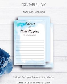 Blue Baby Shower Advice Cards, with nice callygraphy on a pretty blue watercolor background in modern and chic style.This cute baby boy shower advice card listing is for an instant download PRINTABLE PDF so you can download it right away, print it at home or at your local copy shop by Amistyle Art Studio on Etsy
