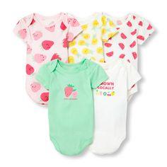 Baby Girls Short Sleeve Fruit Print Bodysuit 5-Pack