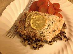 lemon herbed salmon over rice
