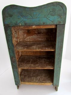 Early Blue green display cupboard Primitive Cabinets, Primitive Furniture, Primitive Antiques, Old Furniture, Country Furniture, Wall Cabinets, Cupboards, Blue Matter, Distressed Painting