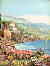 Vintage calendar/poster prints of landscapes, village scenes, etc.