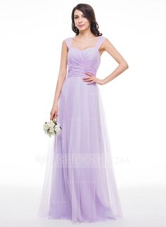 [US$ 128.99] A-Line/Princess Sweetheart Floor-Length Tulle Lace Bridesmaid Dress With Ruffle (007059434)