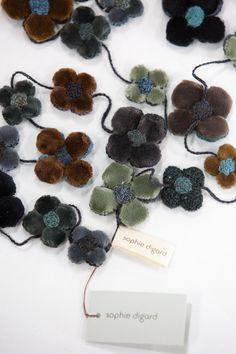 Sophie Digard   Fleur Petales Velours Crochet Necklace   Petrol Appreciation, Crochet Necklace, Feather, Velvet, Textiles, Construction, It Is Finished, Deep, French