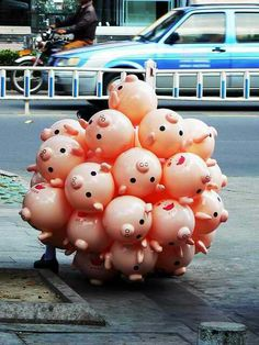 """""""Année du cochon"""" by Leniners: a bunch of pig heads - Carefully selected by… This Little Piggy, Little Pigs, Pig Balloon, Piggly Wiggly, Mini Pigs, Cute Piggies, Flying Pig, To My Daughter, Balloons"""