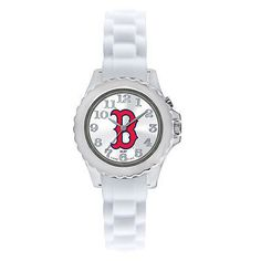 Boston Red SoxFLASH Series Youth / Kids Watch - WHITE  Officially Licensed Team logo Stainless Steel Back Adjustable silicone strap designed for youth or ladies Quartz Accuracy Shock Resistant/Wate