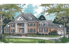 House colonial exterior brick columns Ideas for 2019 Luxury House Plans, Best House Plans, Dream House Plans, House Floor Plans, Luxury Houses, Luxury Floor Plans, Colonial Exterior, Colonial House Plans, Colonial Style Homes