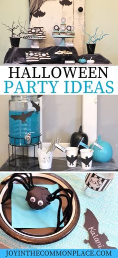 Do you love the bright colors for Halloween? Host a modern kids' Halloween party with aqua and black party decorations. Discover easy diy party decorations, DIY surprise ball party favors, simple snacks and more! Halloween Goodies, Halloween Table, Halloween Home Decor, Halloween Snacks, Halloween House, Halloween Kids, Halloween Crafts, Halloween Decorations, Halloween Party